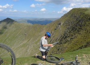 High altitude bicycle repairs, along the Helvellyn ridge