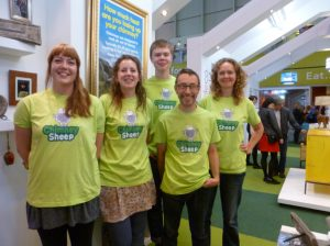 Chimney Sheep Green Hero crew wearing Chimney Sheep green Tshirts at Grand Designs Live in Birmingham