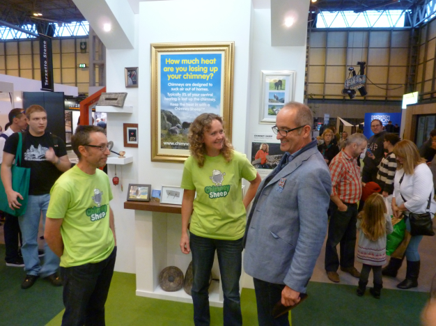Chimney Sheep owner Sally Phillips interrogates Kevin McCloud about how much carpet is chucked away at the end of a Grand Designs live show