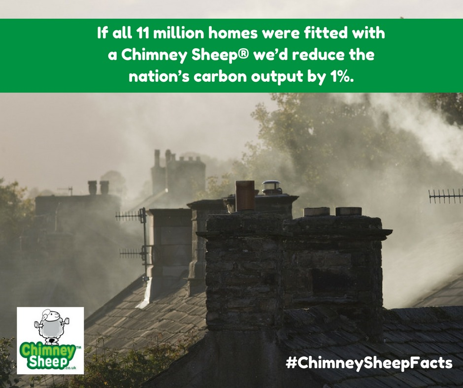 smokey chimneys with with caption if all 11 million homes with an open chimney fitted a chimney sheep we'd save 1% of the nation's carbon output