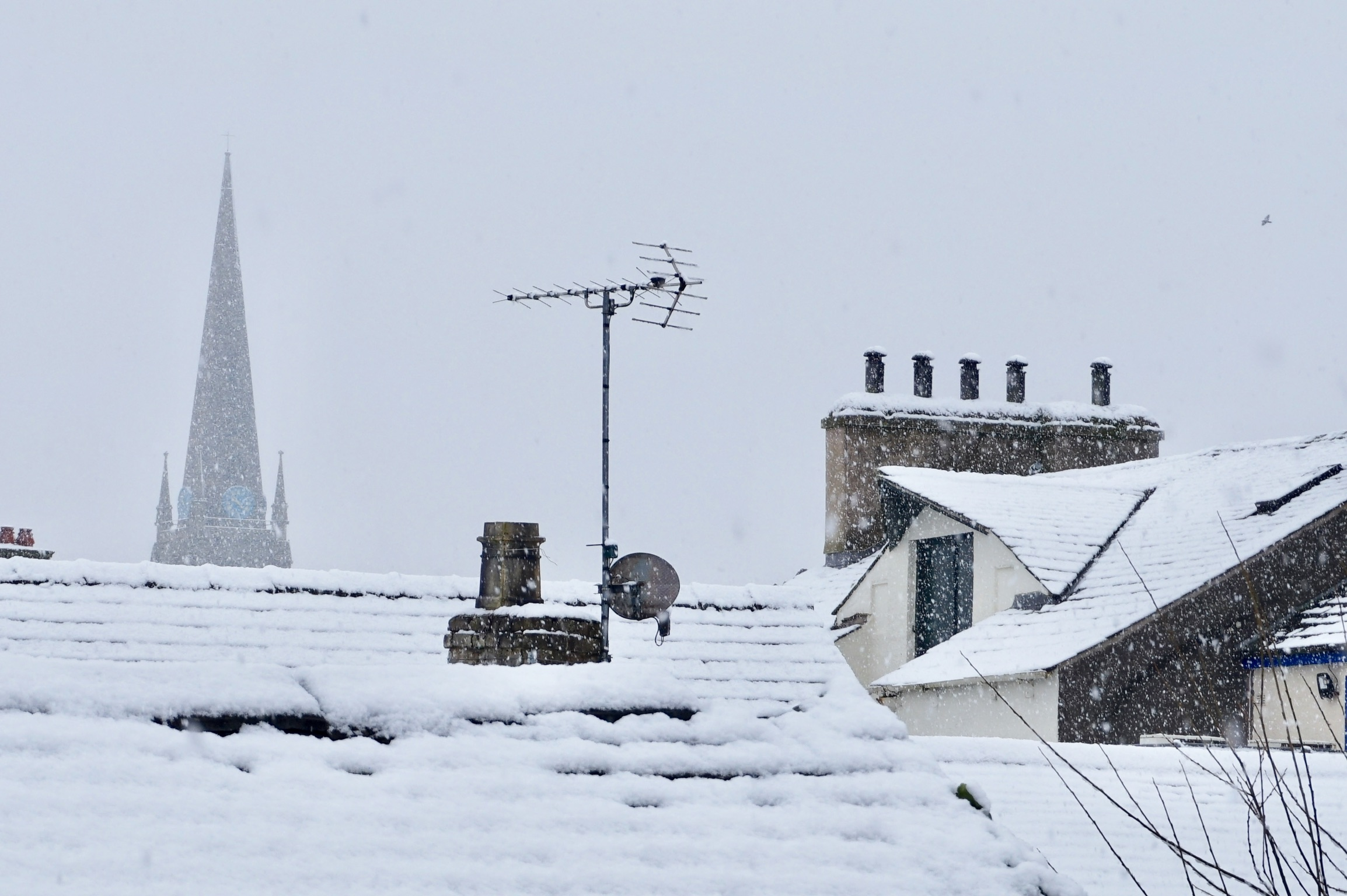 cold roofs with sonw on them - looks like they'll need a chimney sheep fitting in the chimney!