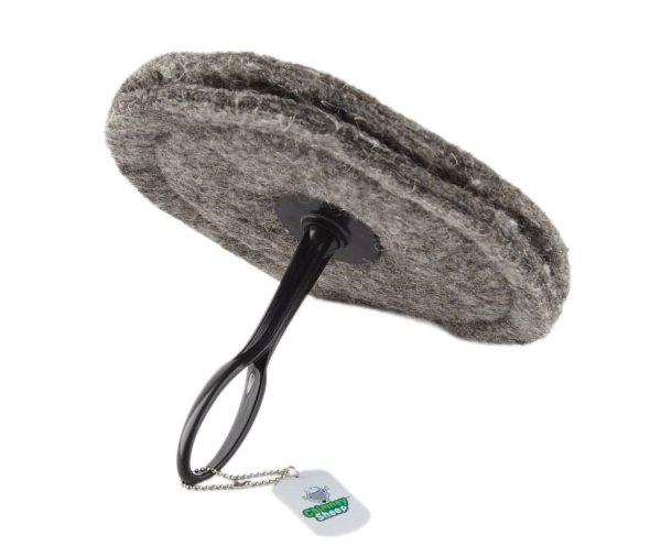 "chimney sheep herdwick wool chimney draught excluder size 10"" round short handle on white background"