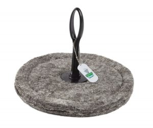"chimney sheep herdwick wool chimney draught excluder upside down on white background size 10"" Round"
