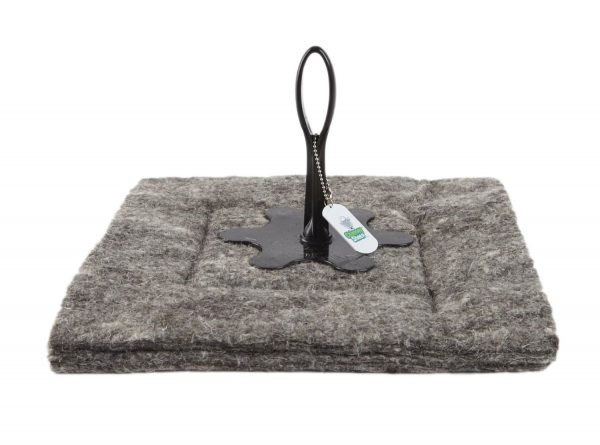 chimney sheep herdwick wool chimney draught excluder size 13 x 13 upside down on white background