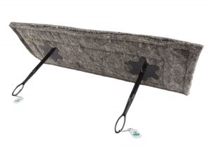 """Herdwick wool chimney sheep chimney draught excluder size 14"""" x 36"""" on white background with long handles"""