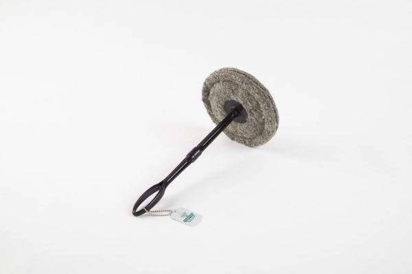 """7.5"""" round Chimney Sheep showing long plastic handle and tagat an angle"""
