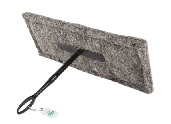 "Herdwick Wool Chimney Sheep Chimney Draught Excluder size 8"" x 20"" on white background long handle"