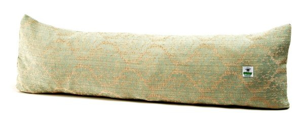 Blue Chateau door draught excluder filled with felted herdwick wool
