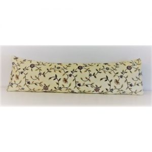 1m long door draught excluder cream with yellow and purple pretty flowers