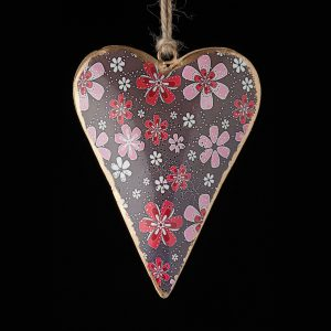 Hand-Painted-Floral-Heart-Red-Pink-White-Flowers-Brown-Background
