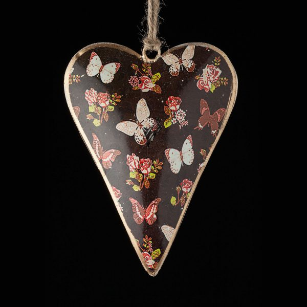 Hand-Painted-Floral-Heart-Brown-Butterflies