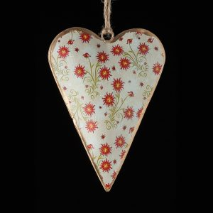 Hand-Painted-Metal-Heart-Floral-White-Red-Flowers