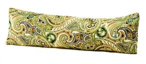 Bold green gold and blue paisley swirls illuminate this quality Italian fabric cover for door draught excluder filled with Herdwick wool