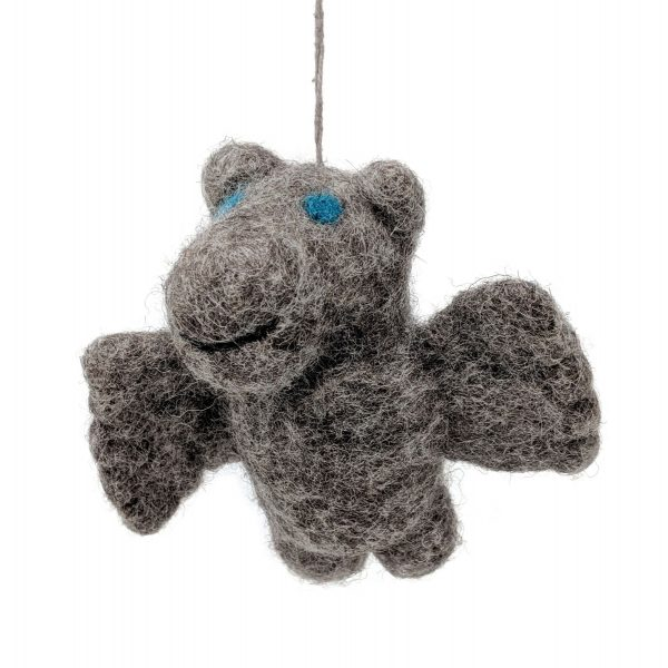 Woolly Felted Flippo fair trade flying hippo