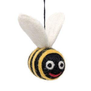 woolly felted bee chimney sheep dangle