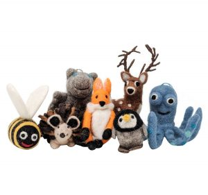 collection of fair trade felted creatures