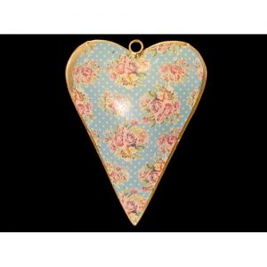 hand painted metal vintage heart blue dots with pink roses