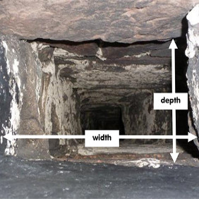 A rectangular chimney flue with white arrows shwoing the width and depth