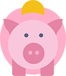 graphic of a pink piggy bank