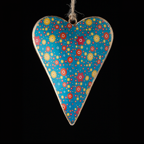 Hand painted metal heart - blue with red and yellow flowers