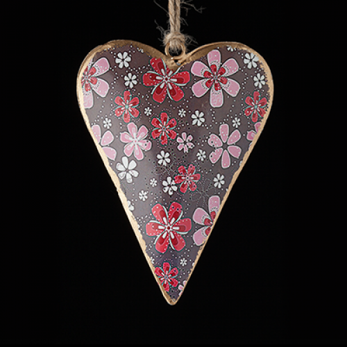 Hand Painted metal heart - brown with pink and red flowers