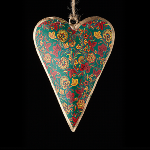 Hand Painted metal heart - green with red and yellow flowers