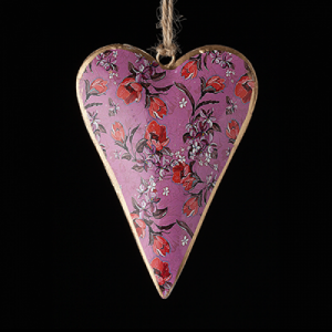 Pink hand painted metal heart with pink and red flowers