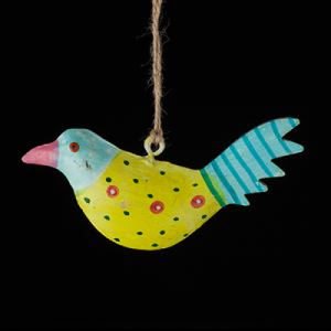 hand painted metal bird blue and yellow