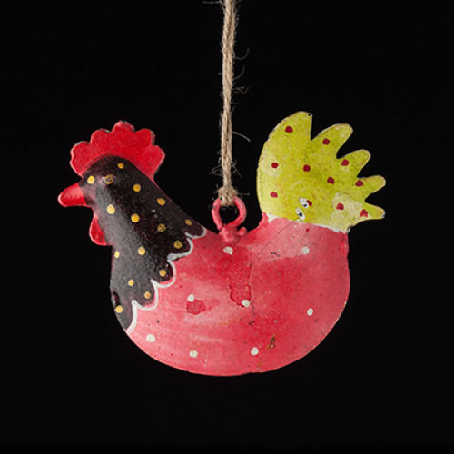 hand painted metal rooster brown and red