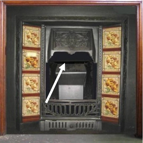 A victorian style fireplace with arrow pointing at the flue