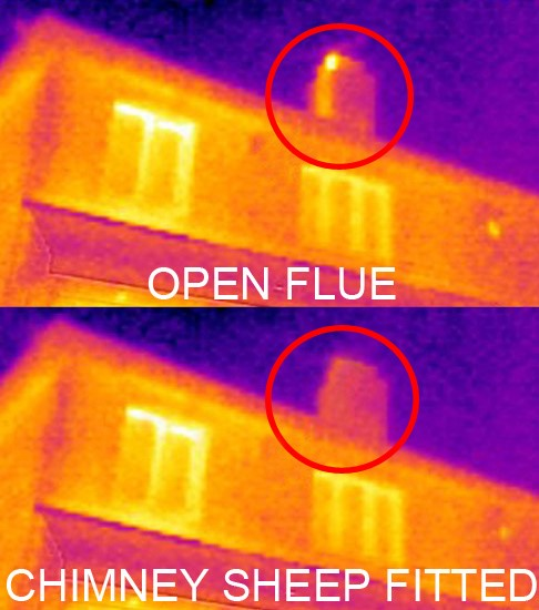 An infared image showing the effectiveness of a chimney sheep in preventing heat loss