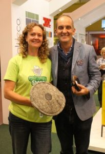 Kevin McCloud with Sally Phillips and a Chimney Sheep at a Green Heroes convention