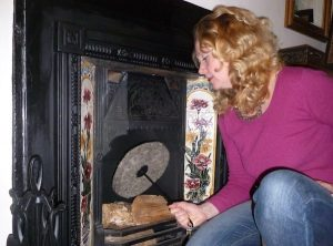 Sally Phillips installing a Chimney Sheep