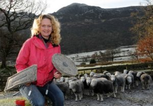 Sally Phillips holding two Chimney Sheep infront of a flock of herdwick sheep with the picteresque Lake District in the background