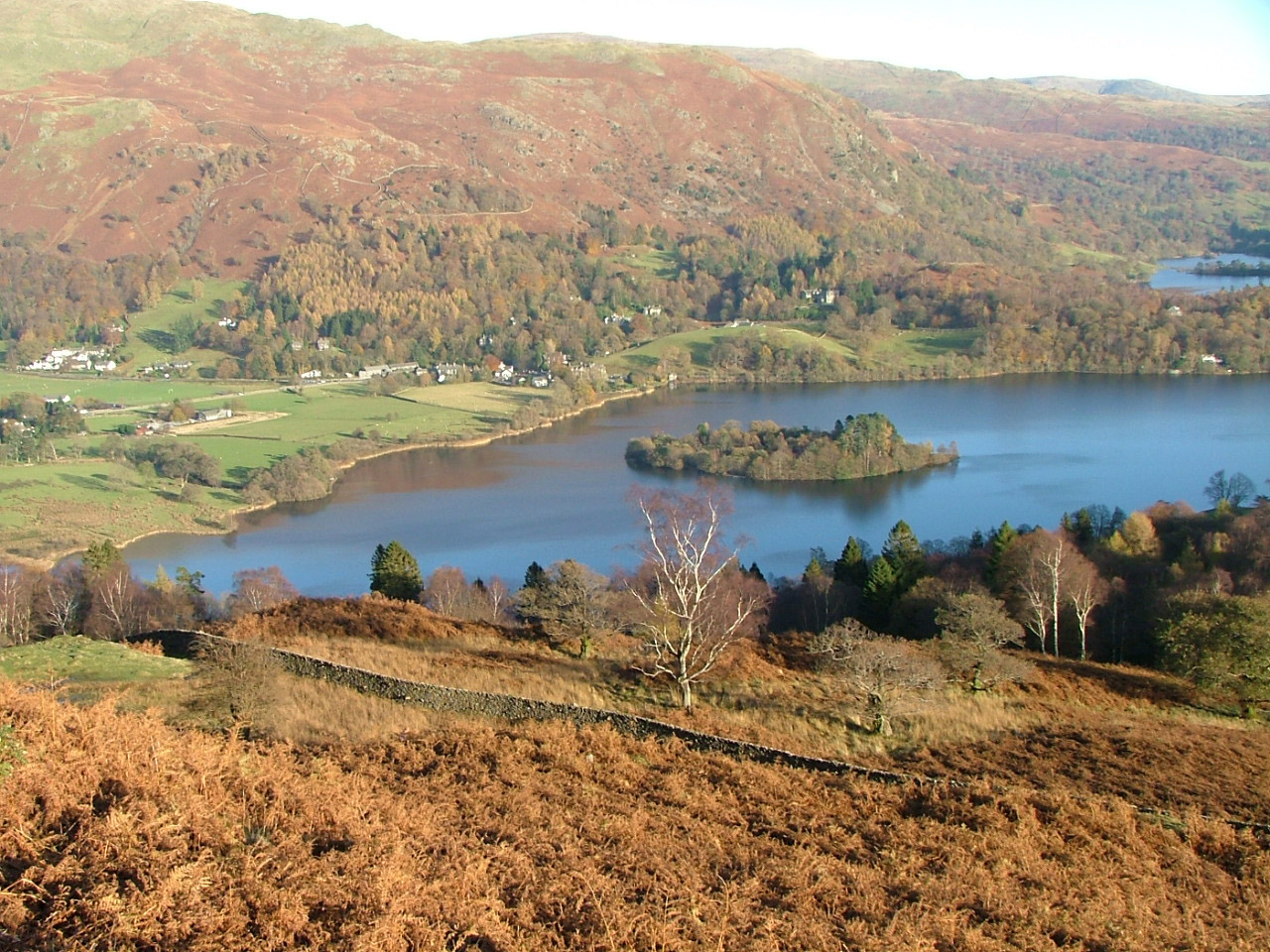 An autumn day looking over a lake in Cumbria