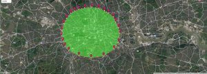 A map of London. Cenral area is highlighted green to display 23000 acres located in London.