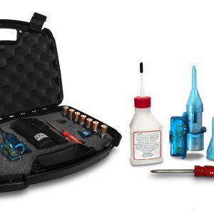 Smoke Pencil hard case kit including - black protective case, seven batteries, screwdrivers blue adaptor kit, 30z fluid bottle and smoke pencil.