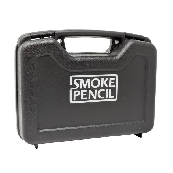 smoke pencil kit showing the outside of the closed box. A black plastic lunchbox type box with smoke pencil in white letters.