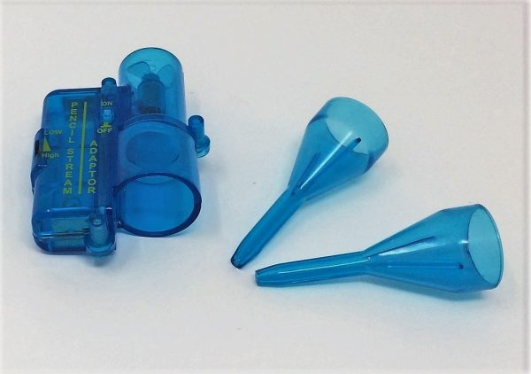 A smoke pencil adaptor kit - two blue plastic nozzles and a small blue electric fan for producing a fine smoke stream.