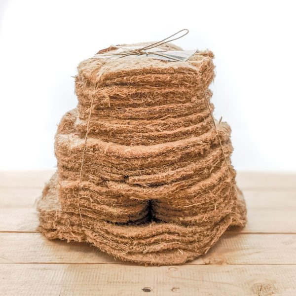 Value pack of 60 different natural jute mulch mats for natural weed control