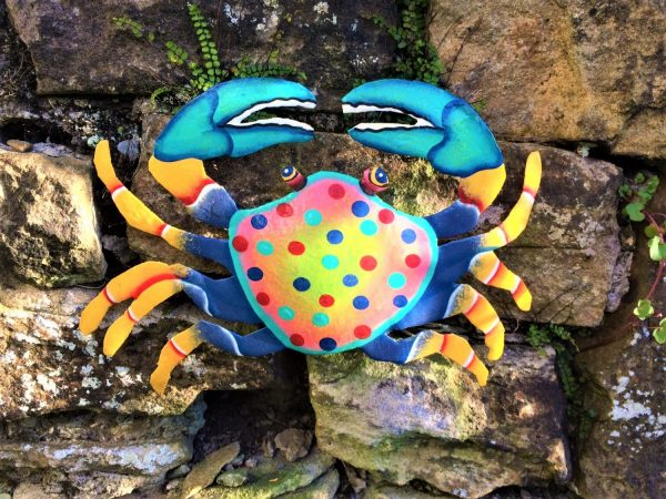 lareg vibrant metal crab upcycled out of oil drums in Haiti