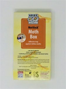Mottlock Moth Box yellow box with orange label stting adhesive trap against clothes moths