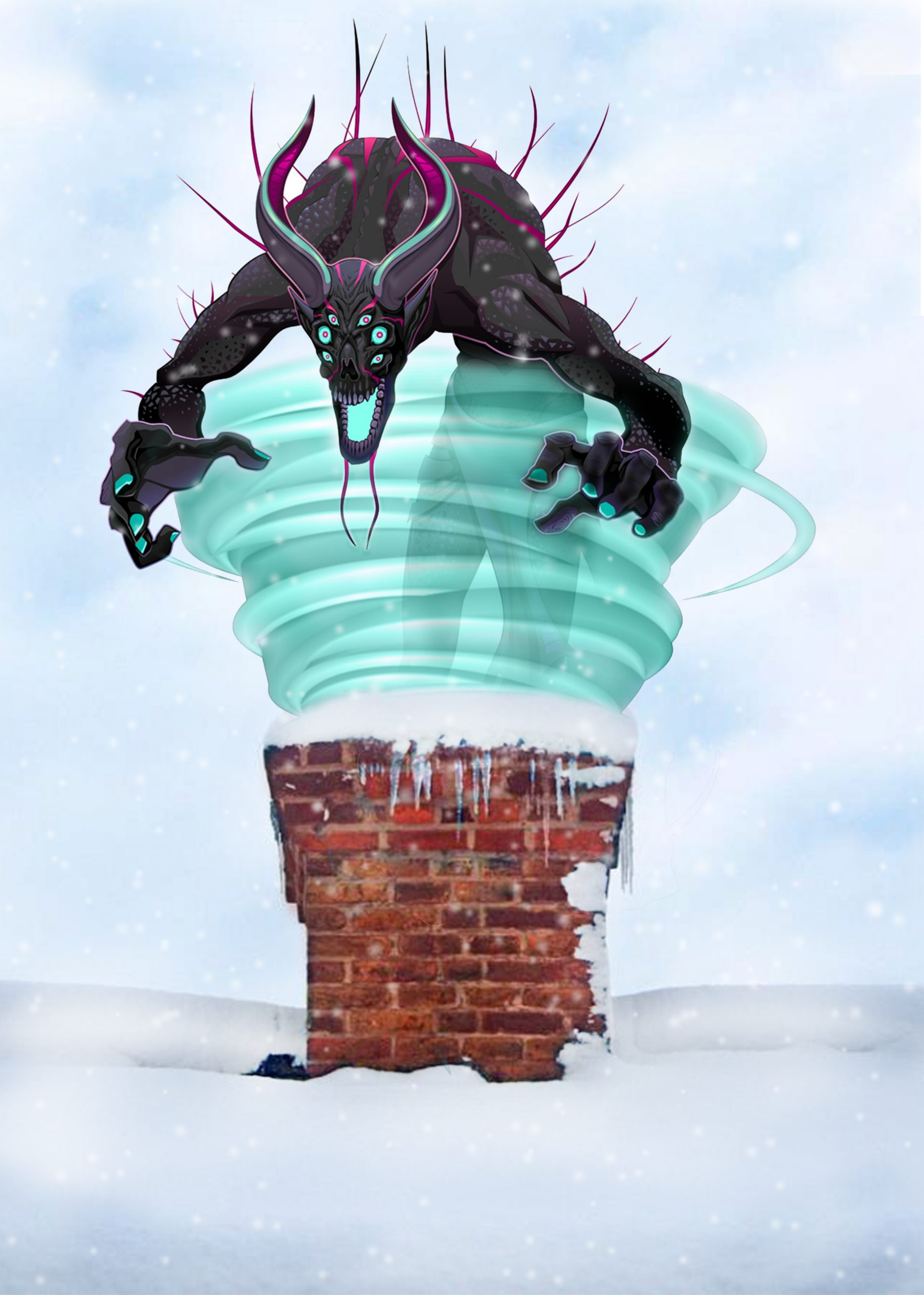 wind noise: a depiction of a whirling wind monster trying to get down the chimney but blocked out by a chimney sheep