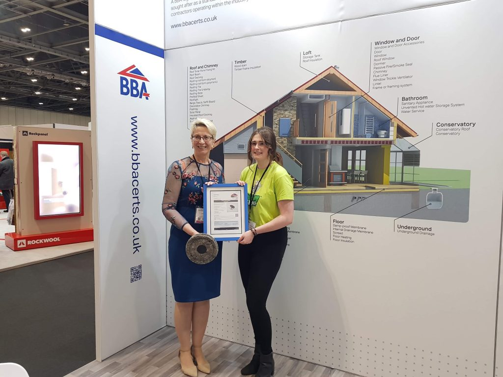 Chimney Sheep receiving BBA certificate at Futurebuild Show 2019