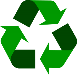 recycling symbol in Chimney Sheep green