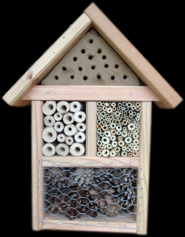 Natural Wooden Insect Hotel contains a variety of completely natural materials to house beneficial insects in your garden
