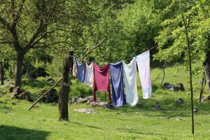 laundry pegged out on the line to flap among trees is a nice image for eco-friendly laundry
