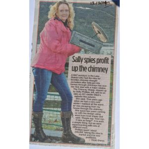 Sally holding chimney sheep in front of sheep - in article from local newspaper ''spies profit up the chimey''