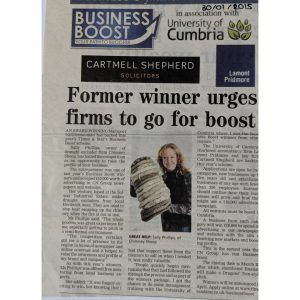 Sally encourages others to go for cumbria business boost - article in local times and star