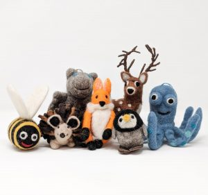 Group of woolly felted animals posing together - chimney sheep dangles
